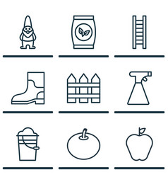 Set 9 plant icons includes dwarf taste apple vector