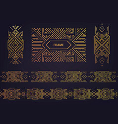 set art deco golden borders frames vector image