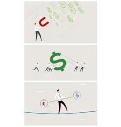 Set of business exchange rate money vector image