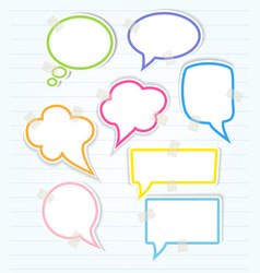 Set of colorful speech bubbles with sticky tape vector image