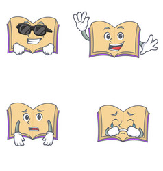 Set of open book character with cool waving afraid vector