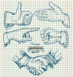 Set of vintage hands Retro styled design elements vector image