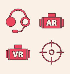 Set target sport headphones ar augmented vector
