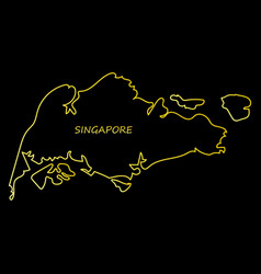 singapore map with shadow effect vector image