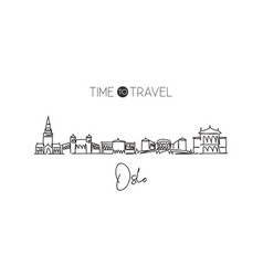 single continuous line drawing oslo skyline vector image