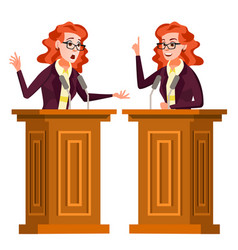 speaker woman podium with microphone vector image