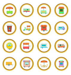Street food kiosk vehicle icons circle vector