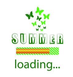 Summer loading seasonal inscription template vector