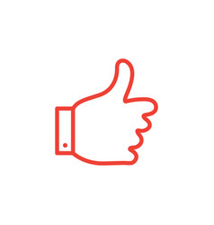 thumbs up line red icon on white background red vector image