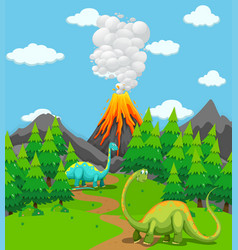 two dinosaurs and volcano eruption vector image