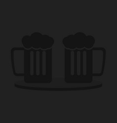 two pints with beer a minimalist background for vector image