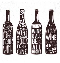 typography set wine bottle silhouette vector image