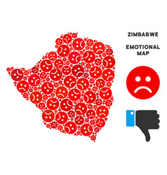 Unhappy zimbabwe map composition of sad vector