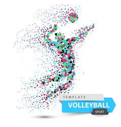 Volleyball player dot game vector