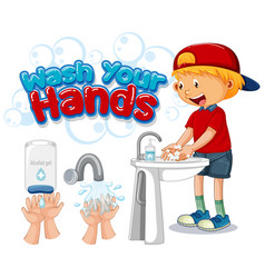 Wash your hands poster design with happy boy vector