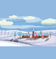 winter landscape with country house and vector image