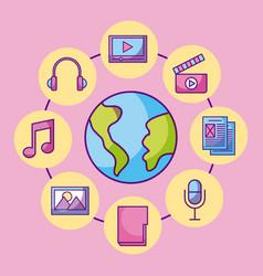 world globe multimedia connection social media vector image