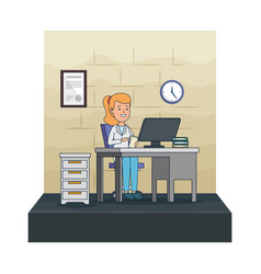 Young dentist female in office vector