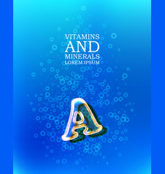 3d vitamin glass sign vector image vector image