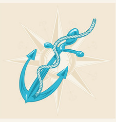 anchor and ribbon on beige background vector image
