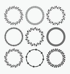 black silhouette circle leaves emblems set vector image vector image
