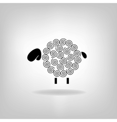 black silhouette of sheep on a light background vector image