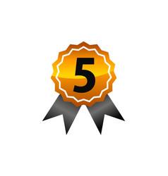Emblem best quality number 5 vector