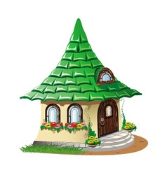 fairytale house with flowers vector image vector image