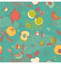 fruit pattern with bird vector image