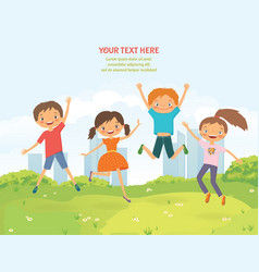 happy jumping children in the summer city vector image vector image