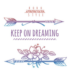 keep on dreaming colorful bohemian print vector image