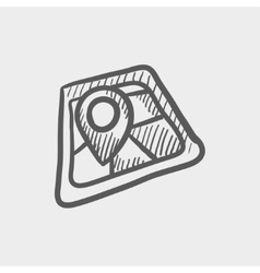 Map pointer house sketch icon vector image