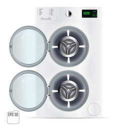 Open front load white double washing machine vector