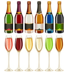 Wine glasses and bottle in many colors vector