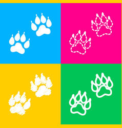 animal tracks sign four styles of icon on four vector image vector image
