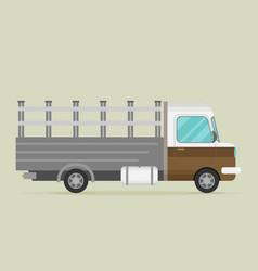 Delivery transport old truck van flat vector