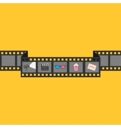 Film strip icon set Popcorn clapper board 3D vector image vector image