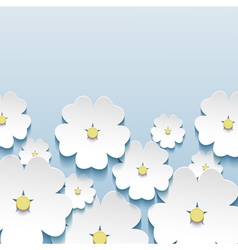 Greeting card with 3d japanese flowers sakura vector image
