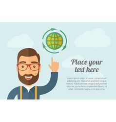 Man pointing global icon vector image