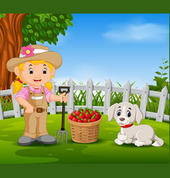 young farmer near his harvested fruits vector image vector image