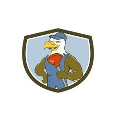 Bald Eagle Plumber Plunger Crest Cartoon vector image vector image