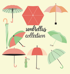 Collection of different fashion umbrellas and vector