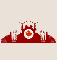 Energy and power icons set with canada flag vector