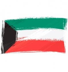 grunge Kuwait flag vector image vector image