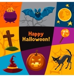 Happy halloween greeting card with characters and vector
