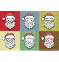 Set of smiling Santa Claus face with round glasses vector image