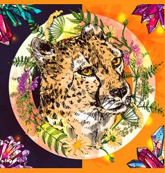 Sketch cheetah vector