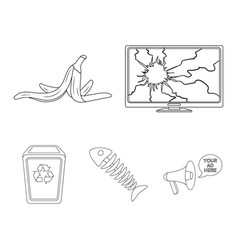 broken tv monitor banana peel fish skeleton vector image vector image