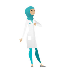 disappointed muslim doctor with thumb down vector image