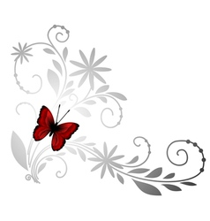 floral pattern with red butterfly vector image